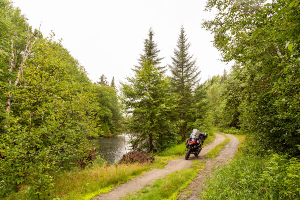 a motorcycle on a two-track trail